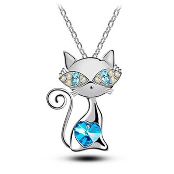 Multi-Color Women Jewelry Cats Crystal Pendant Necklace