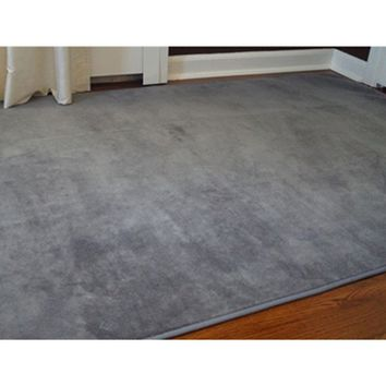Microfiber Dorm Rug - Steele Gray Soft Floors Carpeting College Living Essential Cheap Covering
