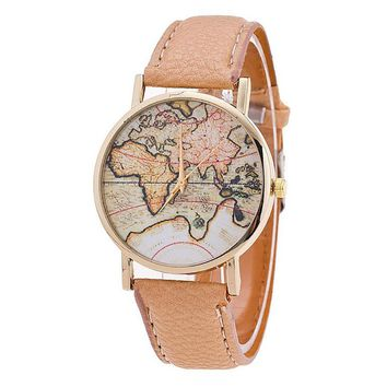 Women's watch World Map Printed Casual Leather Strap Analog Watch