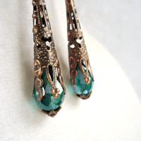 Antique Copper Filigree Cone & Teal Crystal Long Earrings