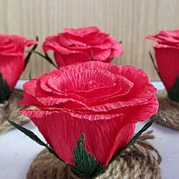 Rustic wedding decor, Set of 10  Red roses, Wedding Centerpieces