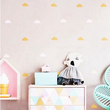 Gold cloud wall decal stickers ,White Cloud Wall Decals, Cloud Nursery Decor free shipping
