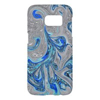 Peacock Blue and Silver Marbled Abstract Samsung Galaxy S7 Case