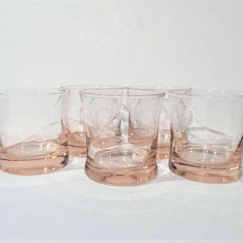Retro Pink Glass Tumblers, Set of 6 Low Ball Glasses Rocks Glasses, Mid Century Pink Glass Tumblers, Elegant Pink Barware Rocks Glasses