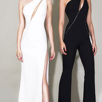 Top Notch White Sleeveless One Shoulder Asymmetric Zipper Side Zip Bandage Bodycon Maxi Dress