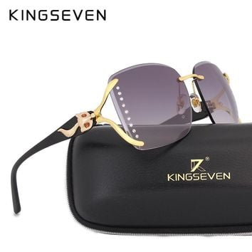 KINGSEVEN 2017 Brand Designer Diamond Fox Decoration Sunglasses Women Luxury Fashion Summer Sun Glasses Gradient Gafas De Sol