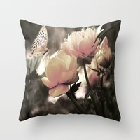 Petal Pink Rose And Butterfly Throw Pillow by J&C Creations