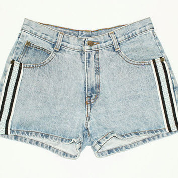Size 26 Striped Denim Shorts, Vintage 1990s Denim Shorts, Festival Vintage size 25 26 Denim Jean Shorts, size 26 jean short striped 90s