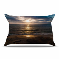 "Nick Nareshni ""La Jolla Sunset On Beach"" Blue  Pillow Case"