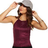 Burgundy Soft Kiss Suede Crop Top