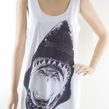 Shark Animal Style Shark Shirt Shark Tank Top Jaws shirt Teens Girl Women T-Shirt Animal Shirt White Tunic Screen Print Size M