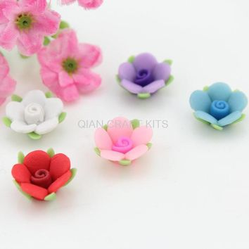 150pcs Mixed 3 Tone Fimo Flower Beads Rose Flower Beads Cabochons 14mm DIY Pendant cell phone decor polymer clay