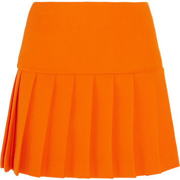 Pleated wool-crepe mini skirt | Miu Miu | US | THE OUTNET