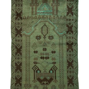 3x4 Overdyed Tribal Rug Vintage 2684
