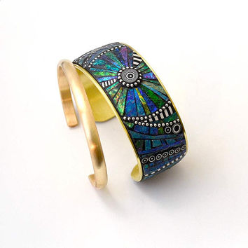 Mosaic Wide Brass Cuff Bracelet with blue green purple iridescent color polymer clay inlay and Sterling Silver
