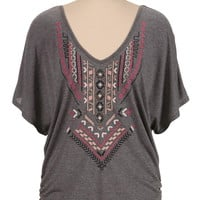 embroidered open back dolman top