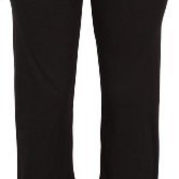 Stretch Cotton Yoga Pants Fold-Over Waist
