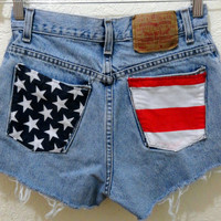 Upcycled stars and stripes Levi cut-offs