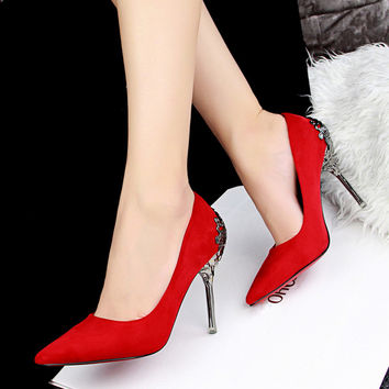 Sexy Suede High Heel Shoes Women Ladies Pumps Pointed Toe Red Bottom High Heels Women Shoes Wedding Party Office Heels