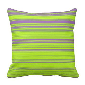 Purple and Green Stripes Throw Pillow