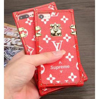 Lv x supreme red trunk iPhone case
