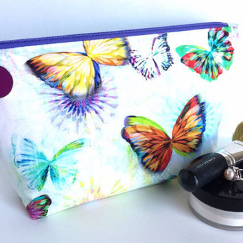Large Makeup bag, Butterfly Makeup Bag, Large Zipper Pouch, Large Pencil Pouch