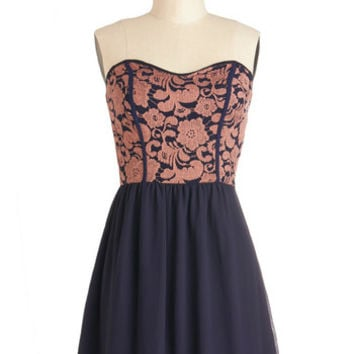 ModCloth Mid-length Strapless A-line Glowing Places Dress in Navy