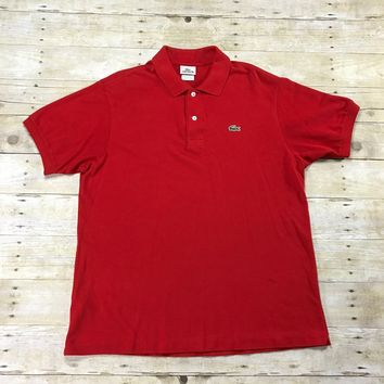 Lacoste Red Polo Shirt Mens Size 6 Large