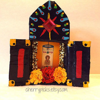 Matchbook Shrine La Santos Ornament/Assemblage/Collage/Paper Mache/Loteria/Day of the Dead
