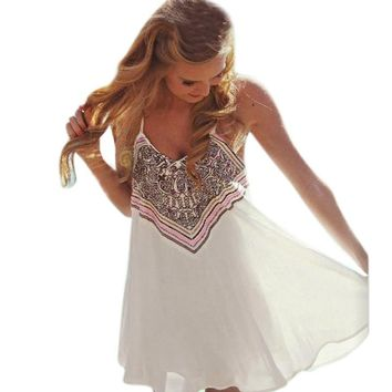 Fashion Women Dress 2016 Summer Hot Sale Boho Women Sleeveless Party Dress Beach Short Mini Dress