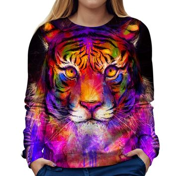 Psychedelic Tiger Womens Sweatshirt