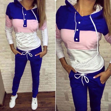 Ladies Hoodies Casual Sports Bottom & Top Sportswear Set [8914680262]