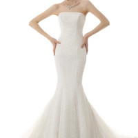 Faille Ivory Trumpet Wedding Dress