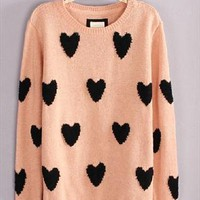 Cute pink heart round neck long sleeve wool sweater from bebpillo