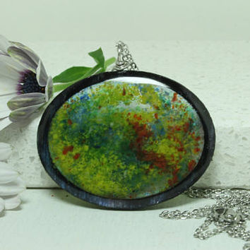 Abstract  Pendant Oval glass and resin jewelry Birch Plywood Red Blue Yellow green
