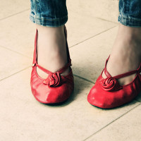 Red Alert - Handmade Leather ballet flat shoes