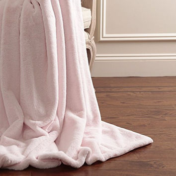 """Best Home Fashion Luxe Faux Fur Throw, 58 x 60"""", Light Pink"""