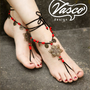 Black red boho barefoot sandal, Crochet hippie shoes, yoga, bellydance, gypsy sandals