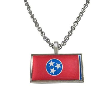 Thin Bordered Tennessee State Flag Pendant Necklace