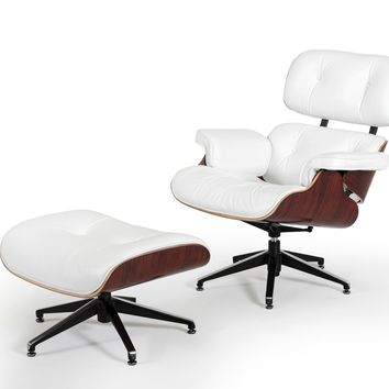 Divani Casa Moser Modern White Leather Lounge Chair w/ Ottoman