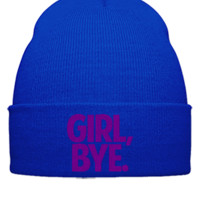 GIRL BYE EMBROIDERY hat  - Beanie Cuffed Knit Cap