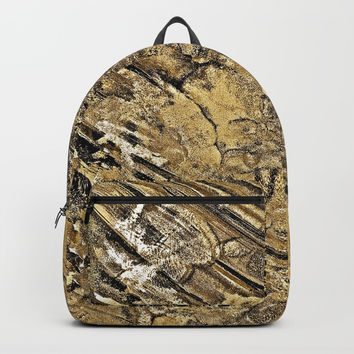 Baby Handprints in Gold and Black Backpack by GittaG74