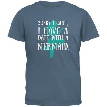 Have A Date With A Mermaid Stone Blue Adult T-Shirt