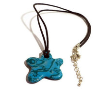 Polymer clay pendant green flower shaped CIJUK10