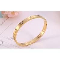 Free shipping-Cartier simple wild female bracelet Gold