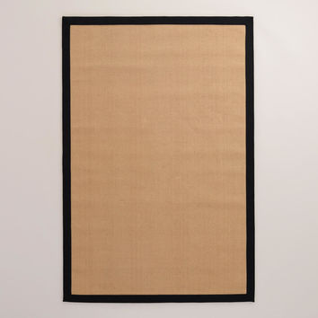 Black Border Jute Boucle Rug - World Market