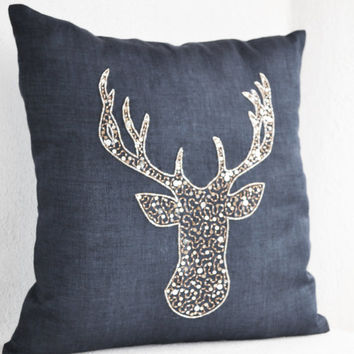 Deer Pillows -Stag embroidered in gold silver sequin -Gray Linen pillows -Charcoal Grey pillows -Grey pillows- Christmas pillows 16x16- Gift