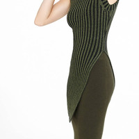Plaited Sleeveless Asymmetrical Mock Neck Sweater from EXPRESS