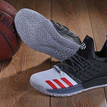 KUYOU A152 Adidas James Harden Vol.2 Boost Training Basketball Shoes Grey Black Red