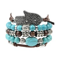 New Hamsa Hand 5pcs Set Leather Bracelets Boho Blue Stone Bracelet Set for Statement Women Jewelry Party Gift 171129